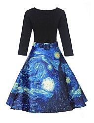 cheap -Women's Sheath Dress Knee Length Dress 3/4 Length Sleeve Print Patchwork Fall Vintage 2021 Black S M L XL