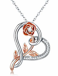 cheap -womens flower rose necklace pendant s925 sterling silver love heart rose gold flower infinity necklace pendant endless love jewelry gifts for her