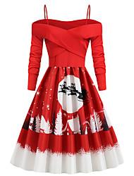 cheap -Women's Swing Dress Knee Length Dress White Black Red Long Sleeve Print Backless Zipper Patchwork Fall Spring Vintage Sexy Christmas 2021 S M L XL XXL
