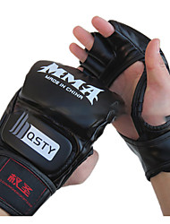 cheap -Boxing Gloves For Boxing Fingerless Gloves Protective Leather Black Red