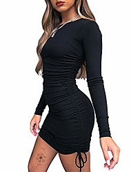 cheap -women's sexy bodycon mini dress ruched long sleeve drawstring club party mini dresses black