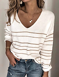 cheap -Women's Basic Knitted Solid Color Pullover Long Sleeve Sweater Cardigans V Neck Fall White Black Blushing Pink