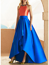 cheap -A-Line Beautiful Back Sexy Wedding Guest Prom Dress Halter Neck Sleeveless Asymmetrical Satin with Beading Appliques 2021