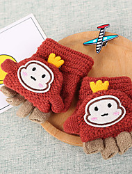 cheap -2pcs Toddler Unisex Active Cartoon Knitted Acrylic Gloves Blue / Red / Blushing Pink One-Size