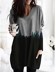 cheap -Women's T Shirt Dress Tee Dress Short Mini Dress - Long Sleeve Color Block Print Fall V Neck Casual Loose 2020 Blue Gray S M L XL XXL 3XL