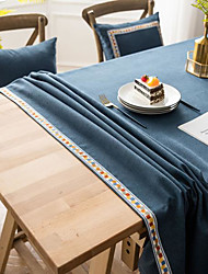 cheap -Pure Color American Tablecloth Waterproof Fabric Plain Tablecloth Embroidered Household Tablecloth Thick Imitation Cotton Linen