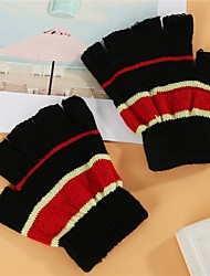 cheap -2pcs Kids Unisex Active Striped Half-finger Gloves Black One-Size
