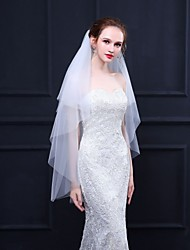 cheap -Two-tier Basic / Classic & Timeless Wedding Veil Fingertip Veils with Solid 39.37 in (100cm) Tulle