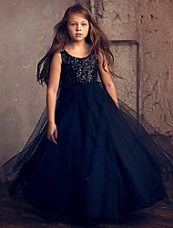 cheap -Princess / Ball Gown Ankle Length Wedding / Party Flower Girl Dresses - Lace / Tulle Sleeveless Jewel Neck with Flower / Paillette