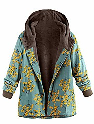 cheap -womens jacket coats flowers floral print boho hooded vintage warm padded loose fleece lined parka plus size 3xl (xl =us:6-10,green-floral)