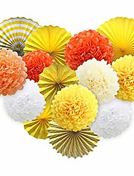cheap -yellow hanging paper party decorations, round paper fans set paper pom poms flowers for thanksgiving birthday baby shower events accessories