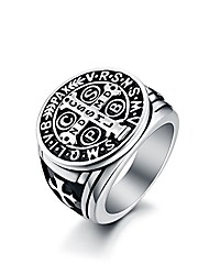 cheap -men's st benedict ring stainless steel heavy christian roman mens catholic saint benedict exorcism rings demon protection ghost hunter cspb men dad boyfriend vintage antique size 12