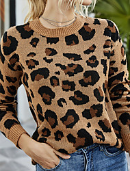 cheap -Women's Knitted Leopard Pullover Acrylic Fibers Long Sleeve Sweater Cardigans Crew Neck Fall Green Brown