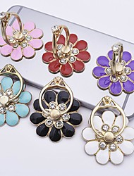 cheap -Flower mobile phone bracket metal diamond 360 degree rotating mobile phone ring buckle bracket Holders