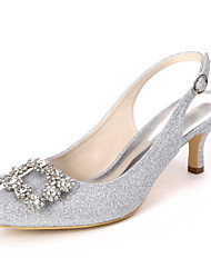 cheap -Women's Wedding Shoes Kitten Heel Pointed Toe Wedding Sandals Classic Wedding Party & Evening Gleit Rhinestone Solid Colored White Light Purple Champagne