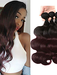 cheap -T1B/Burgundy Color Body Wave 3 Bundles Ombre Hair Weaves Brazilian Hair Human Hair Extensions 100% Remy Hair Weave Bundles Ombre Hair Weaves  10-30 inch New Design