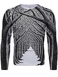 cheap -Men's T shirt 3D Print Graphic 3D Print Long Sleeve Christmas Tops Round Neck Dark Gray