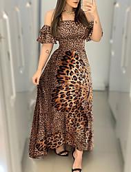 cheap -Women's Sheath Dress Maxi long Dress Brown Short Sleeve Leopard Backless Print Summer Off Shoulder Elegant 2021 S M L XL