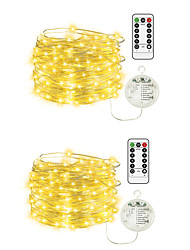 cheap -10m String Lights 100 LEDs EL 1 13Keys Remote Controller 2pcs Warm White Halloween Christmas Waterproof Outdoor Party AA Batteries Powered