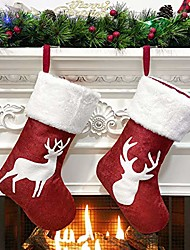 cheap -Reindeer Printed Christmas Stocking Red Burlap Plush Faux Fur Cuff Xmas Stockings for Family Party Decor