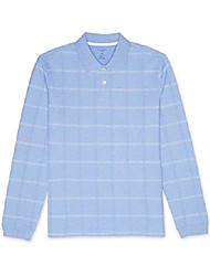 cheap -men's flex long sleeve jaspe windowpane polo shirt, blue yonder, large