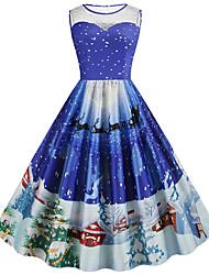 cheap -Women's A-Line Dress Knee Length Dress - Sleeveless Print Lace Print Summer Fall Vintage Christmas 2020 Blue Purple Red Blushing Pink Green S M L XL XXL 3XL 4XL 5XL