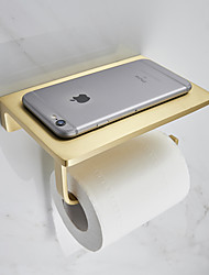 cheap -Toilet Paper Holder Creative Metal Bathroom Shelf with Mobile Phone Storage Shelf Wall Mounted Brushed Gold 1PC