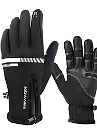 cheap -Winter Bike Gloves / Cycling Gloves Touch Gloves Windproof Warm Full Finger Gloves Sports Gloves Black for Adults' Multisport Cycling / Bike