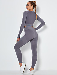 cheap -Women's 2pcs Yoga Suit Winter Seamless Thumbhole Fashion Cropped Leggings Crop Top Clothing Suit Purple Blue Nylon Yoga Fitness Running Tummy Control Butt Lift Quick Dry Long Sleeve Sport Activewear