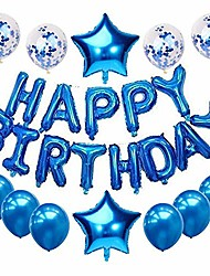 cheap -happy birthday balloons, birthday party decoration set, happy birthday foil balloon banner, confetti balloons, latex balloons and star foil balloons for kids adults (blue)