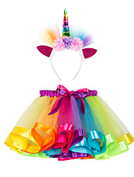 cheap -Kids Girls' Active Cute Color Block Rainbow Bow Layered Mesh Skirt Blue / Lace up
