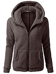 cheap -womens plus size coat winter warm hoodie coat wool zipper solid cotton outwear coffee