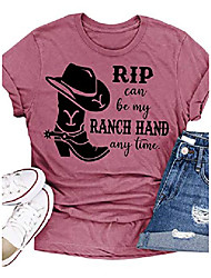 cheap -yellowstone rip can be my ranch hand any time t-shirt womens casual country music graphic tees short sleeve tops (cameo brown, large)
