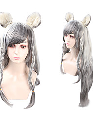 cheap -Cosplay Cosplay Cosplay Wigs Women's Side bangs 80 inch Heat Resistant Fiber Natural Straight Gray Adults' Anime Wig