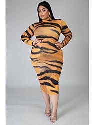 cheap -Women's Sheath Dress Midi Dress - Long Sleeve Print Print Fall Plus Size Casual 2020 Yellow Brown XXL 3XL 4XL 5XL 6XL