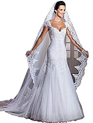 cheap -cathedral length lace edge bridal head veil with comb long wedding veil white ivory