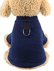 cheap -pet dog fleece coat with harness autumn winter cold weather dog vest clothes for small dog apparel navy