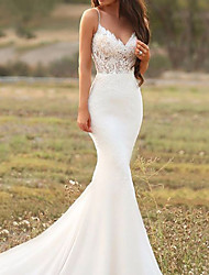cheap -Mermaid / Trumpet Wedding Dresses V Neck Court Train Lace Satin Sleeveless Country with Appliques 2020