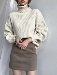 cheap -Women's Knitted Solid Color Pullover Long Sleeve Sweater Cardigans Turtleneck Fall Blue Brown Beige