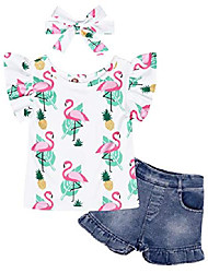 cheap -little girls outfit long sleeve flower ruffle t-shirt top ripped jeans pant set casual photography playwear summer clothes 6t age 5-6 years