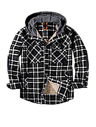 cheap -men's classic plaid long sleeve buttons camping warm lining with thick cotton hooded shirt jacket l black