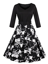cheap -Women's A Line Dress Midi Dress Black Long Sleeve Floral Print Summer Round Neck Elegant 2021 S M L XL XXL 3XL 4XL