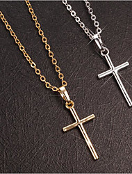 cheap -Women's Men's Pendant Necklace Necklace Classic Cross Simple Fashion Classic Alloy Silver Gold 45+7 cm Necklace Jewelry 1pc For Party Evening Street Sport Prom Festival