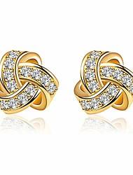 cheap -14k gold plated stud earrings 925 sterling silver cz earrings love knot post cubic zirconia earrings for women (yellow)