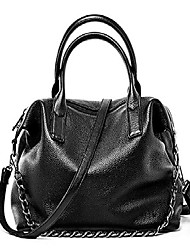 cheap -heshe leather shoulder bag womens tote top handle handbags cross body bags for office lady (black)