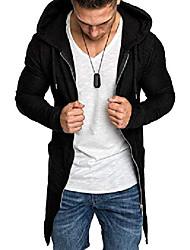cheap -men swallowtail cardigan windbreaker solid long sleeve hooded jacket zipper long trenchcoat (black, 2xl)
