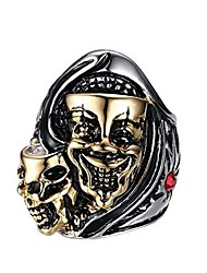 cheap -men's stainless steel gemini ghost double skull head ring cool biker jewelry silver gold size 11