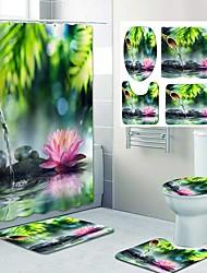 cheap -Spring Water lotus Pattern PrintingBathroom Shower Curtain Leisure Toilet Four-Piece Design
