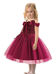 cheap -Princess Dress Party Costume Flower Girl Dress Girls' Movie Cosplay Princess White / Red / Light Purple Dress Children's Day Masquerade Polyester