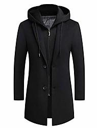 cheap -men's coat hoodie long trench coat  casual len overcoat jacket black